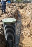 Ansicht von Abflussrohren und Inspektion gut für Abbau des Wassers Stockfotos