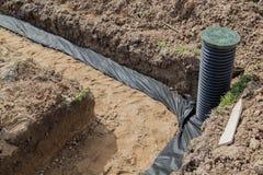 Ansicht von Abflussrohren und Inspektion gut für Abbau des Wassers Lizenzfreies Stockfoto