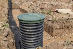 Ansicht von Abflussrohren und Inspektion gut für Abbau des Wassers Stockfotografie