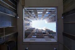 Ansicht von abwärts gerichtetem von Bürogebäuden Stockfoto