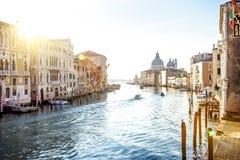 Ansicht von Accademia-Brücke auf Grand Canal in Venedig Stockbild