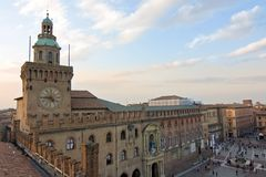 Ansicht von accursio Palast - Bologna Stockfotografie