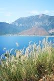 Ansicht von Adrasan-Bucht Trockenes Federgras und Meer Gealtertes Foto Lizenzfreies Stockfoto