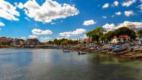 Ansicht von Ahtopol, vom Pier, Bulgarien Teil 3 lizenzfreie stockbilder