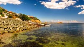 Ansicht von Ahtopol, vom Pier, Bulgarien Teil 4 stockfotos