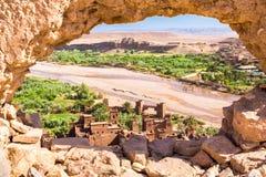 Ansicht von Ait Benhaddou Kasbah, Ait Ben Haddou, Ouarzazate, Marokko Lizenzfreies Stockfoto