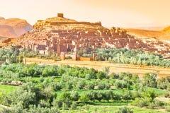 Ansicht von Ait Benhaddou Kasbah, Ait Ben Haddou, Ouarzazate, Marokko Stockbild
