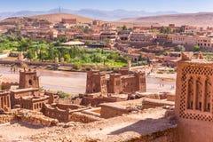 Ansicht von Ait Benhaddou Kasbah, Ait Ben Haddou, Ouarzazate, Marokko Lizenzfreie Stockbilder
