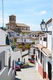 Ansicht von Alhambra mit Zigeunerhöhle Sacromonte in Granada, Andalusien, Spanien Lizenzfreies Stockbild