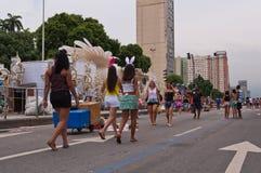 Ansicht von Allee Avenida Presidente Vargas in Rio de Janeiro während des Karnevals stockfotografie