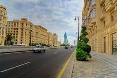 Ansicht von Allee Geydar Aliyev in Baku Lizenzfreies Stockfoto