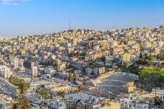 Ansicht von Amman, die Hauptstadt von Jordanien, genommen vom Amman-Zitadellenhügel stockfotografie