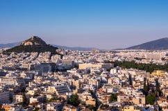 Ansicht von Athen, von Griechenland und von Berg von Lycabettus von der Akropolise bei Sonnenuntergang stockbild