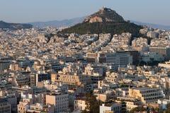 Ansicht von Athen und von Lecabetus-Hügel alias Lykabettos Lizenzfreie Stockbilder