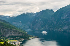 Ansicht von Aurlandsfjord, Norwegen stockfotos