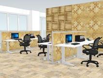 Ansicht von Büroräumen mit a mit dekorativer hölzerner Tapete lizenzfreie abbildung