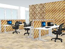Ansicht von Büroräumen mit a mit dekorativer hölzerner Tapete stock abbildung