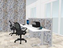 Ansicht von Büroräumen mit a mit Steinwand im Hintergrund lizenzfreie abbildung