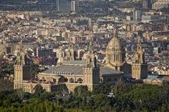 Ansicht von Barcelona mit dem Montjuic Palast. Stockfotografie
