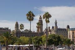 Ansicht von Barcelona vom Meer lizenzfreies stockfoto