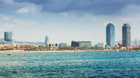Ansicht von Barcelona vom Mittelmeer Lizenzfreie Stockfotografie