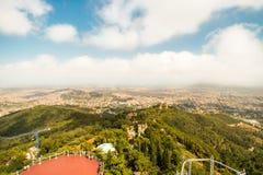 Ansicht von Barcelona von Tibidabo Stockfotografie