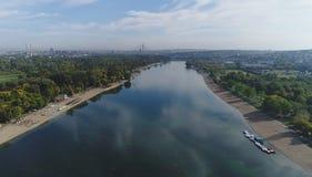 Ansicht von Belgrad von See Ada Stockfotografie