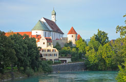 Ansicht von Benediktinerkloster St. Mang, Fussen lizenzfreies stockfoto