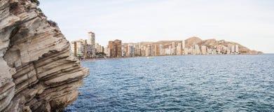 Ansicht von Benidorm-Stadt und -küstenlinie Lizenzfreie Stockfotos