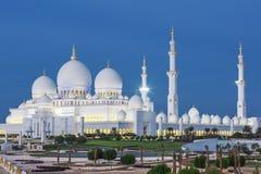 Ansicht von berühmtem Abu Dhabi Sheikh Zayed Mosque Lizenzfreie Stockfotografie