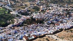 Ansicht von berühmtem blauem Medina der alten Stadt Chefchaouen, Marokko, Afrika stock video