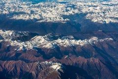 Ansicht von Bergen von oben Lizenzfreie Stockfotografie