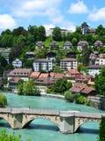 Ansicht von Bern- und Aare-Fluss Lizenzfreie Stockfotos