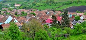 Ansicht von Biertan-Dorf, Siebenbürgen-Provinz, Rumänien lizenzfreie stockfotos