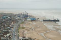 Ansicht von Blackpool-Promenade, Lancashire, England, Großbritannien Stockfotos