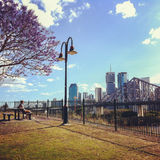 Ansicht von Brisbane und von Geschichten-Brücke von Willsons Ausblick Lizenzfreie Stockbilder