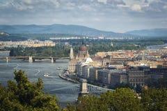 Ansicht von Budapest von Citadele Stockfotografie