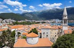 Ansicht von Budva, Montenegro auf adriatischer Küste Lizenzfreie Stockbilder