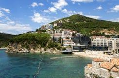 Ansicht von Budva, Montenegro auf adriatischer Küste Lizenzfreie Stockfotografie