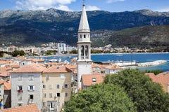 Ansicht von Budva, Montenegro auf adriatischer Küste Stockfoto