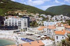 Ansicht von Budva, Montenegro auf adriatischer Küste Lizenzfreies Stockfoto