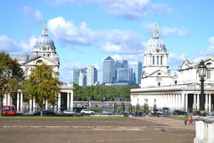 Ansicht von Canary Wharf von Greenwich-Park Lizenzfreies Stockfoto