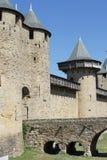 Ansicht von Carcassonne-Schloss Toren lizenzfreie stockfotografie