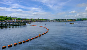 Ansicht von Cardiff-Bucht vom Damm Stockfoto