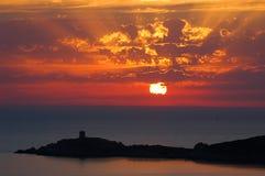 Ansicht von Cargese Korsika lizenzfreie stockbilder