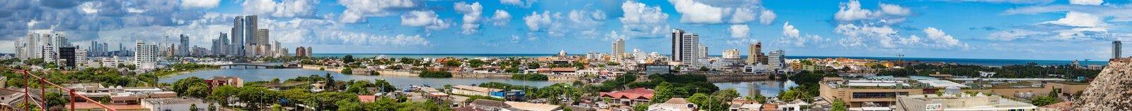 Ansicht von Cartagena vom Schloss von San Felipe Stockbilder