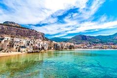 Ansicht von cefalu, Stadt auf dem Meer in Sizilien, Italien stockfoto