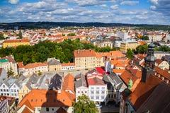 Ansicht von Ceske Budejovice vom schwarzen Turm, Tschechische Republik Stockfotografie