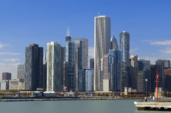 Ansicht von Chicago vom Damm Stockfotografie