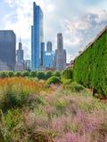 Ansicht von Chicago von Grant Park Stockfotos
